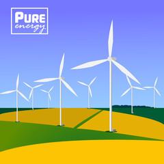 Wind turbines with landscape. Eco saving technology.