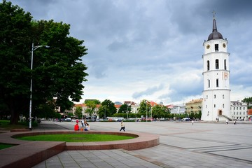 The Cathedral  belfry and Square in central Vilnius on summer