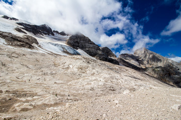 the glacier on the peak of Marmolada, Dolomites.
