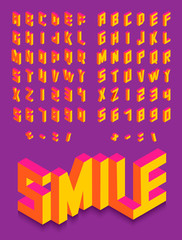 Isometric 3d font colorful isolated background