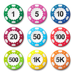 Gambling casino poker chips numbers color sign