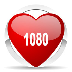 1080 red heart valentine icon on white background
