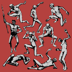 Zombie. Set of zombies in different poses isolated on the red background. Vector illustration.