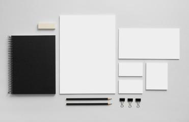 Obraz Mockup business brand template on gray background. - fototapety do salonu