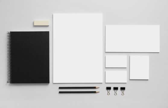 Mockup business brand template on gray background.