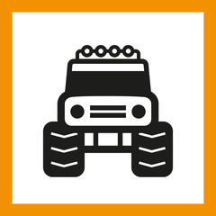 OMNI ICON SERIES: Monster truck, bigfoot vehicle icon. Editable EPS vector, black isolated on white background.
