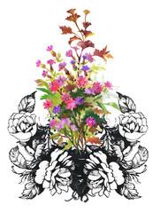 Floral background. Floral card. Watercolor floral bouquet