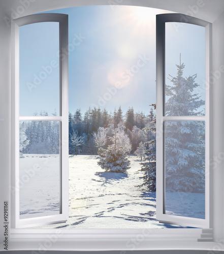 Blick aus dem fenster poster  Blick aus dem Fenster einer Holzhütte im Winter