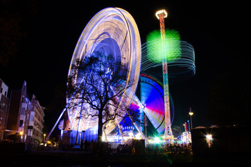 Dutch Kermis in Leiden at night, Leidens ontzet festival wheel of amusement