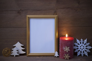 Frame With Candlelight And Christmas Decoration, Copy Space