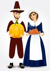 pilgrim couple holding a roast turkey and pumpkin