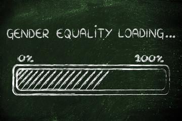gender equality loading, progess bar illustration