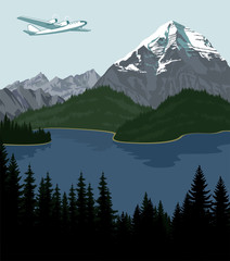 Vector lake and plane in mountains