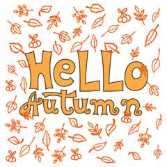Hello Autumn typographic. Hello autumn lettering card. Vector Autumn hand Lettering.