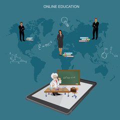 online education, distance learning, flat vector illustration