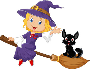 Little witch and a black cat in the flying broomstick