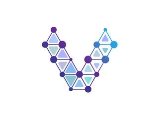V Letter Blue Line Dot Network Logo