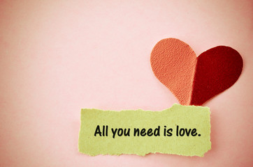 All you need is love concept.
