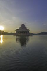 Putrajaya Mosque in morning glow sunrise