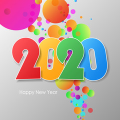 Simple greeting card happy new year 2020.