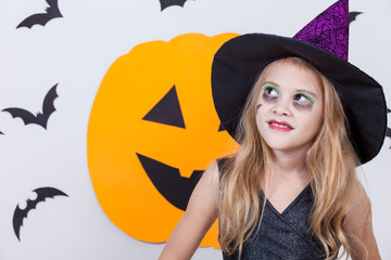 Wall Mural - Happy  girl on Halloween party