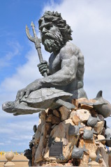 King Neptune Statue at the entrance of Neptune Park on the Virginia Beach boardwalk in Virginia