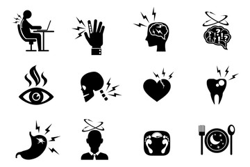 Office syndrome effects icons set