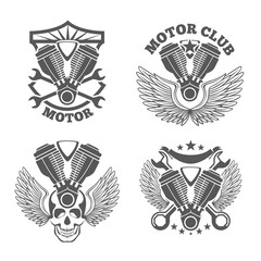 Vintage motorcycle labels, badges. Motorbike vector logo set