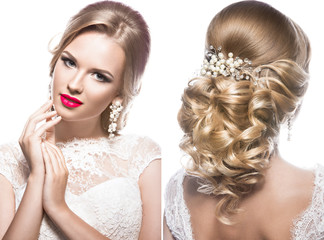 Beautiful blond woman in image of the bride with wedding