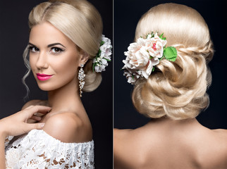 Beautiful blond woman in image of the bride with flowers. Beauty