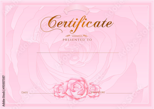 u0026quot certificate  diploma of completion  rose design template