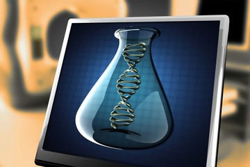 DNA model on blue background at monitor