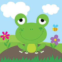 Cute Frog Cartoon design vector illustration.Can be used for Greeting card, invitation,EPS 10 and hi-res jpg included