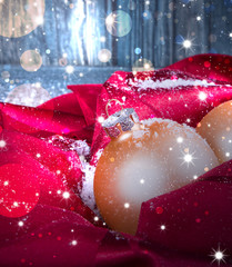 Christmas background, holiday decoration, balls and snow with wooden