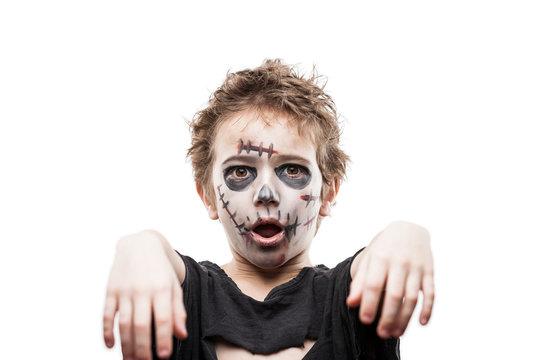 Screaming walking dead zombie child boy halloween horror costume