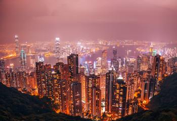 Hongkong Cityscape Night View from the Jardine's Lookout, Hong Kong, China