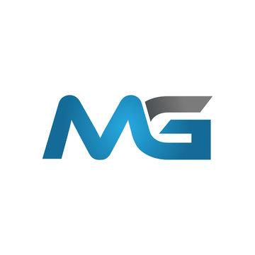 MG company linked letter logo blue