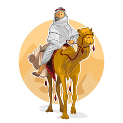 Arabian Bedouin Riding A Camel, Islamic Al Hijra