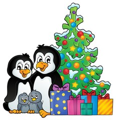Penguin family Christmas theme 1