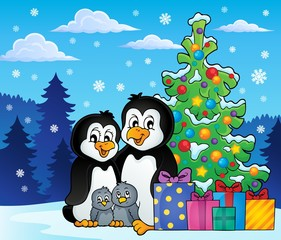 Penguin family Christmas theme 2