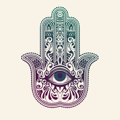 Hamsa or hand of Fatima, good luck charm, vector illustration