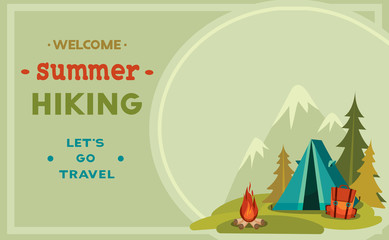 Summer hiking - tent, backpack and campfire.