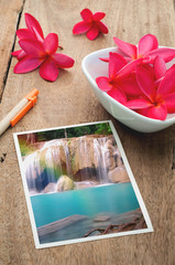 Red Plumeria Flower on the plate and waterfall picture on the wo