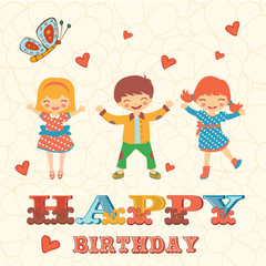 Stylish Happy birthday card with cute kids jumping