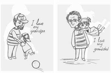 Grandfather Playing With Grandchildren/Two images where the grandfather playing with his grandchildren, linear style