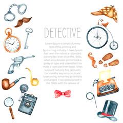 Watercolor retro detective accessories