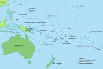 Ozeanien - Karte in Grün