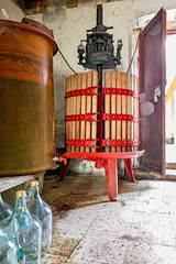 image of old red wine press