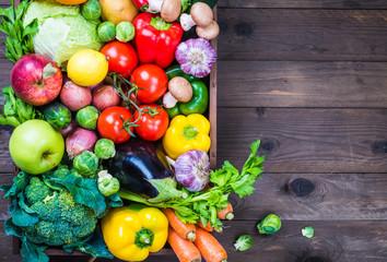 Foto op Plexiglas Groenten Vegetables and fruits, text space.