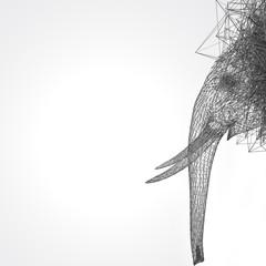 stylized elephant wire low poly